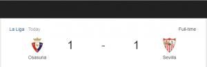 Hasil La Liga Osasuna vs Sevilla