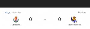 Hasil La Liga Valladolid vs Sociedad