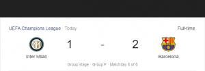 Hasil Liga Champions Inter vs Barcelona