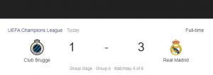 Hasil Liga Champions Club Brugge vs Real Madrid