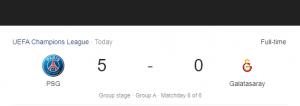 Hasil Liga Champions PSG vs Galatasaray