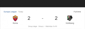 Hasil Liga Eropa Roma vs Wolfberg