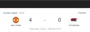 Hasil Liga Eropa Manchester United vs AZ Alkmaar