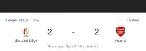 Hasil Liga Eropa Standard Liege vs Arsenal