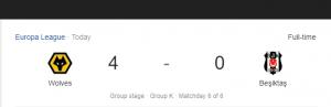 Hasil Liga Eropa Wolves vs Besiktas