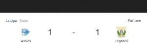 Hasil La Liga Alaves vs Leganes