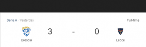 Hasil Serie A Brescia vs Lecce
