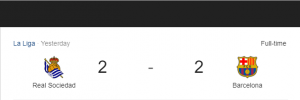 Hasil La Liga Sociedad vs Barcelona