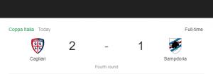 Hasil Coppa Italia Cagliari vs Sampdoria