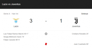hasil lazio juventus 3-1