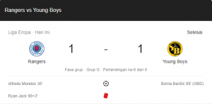 hasil rangers young boys 1-1