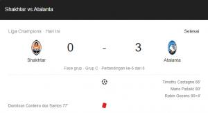 hasil shakhtar atalanta 0-3